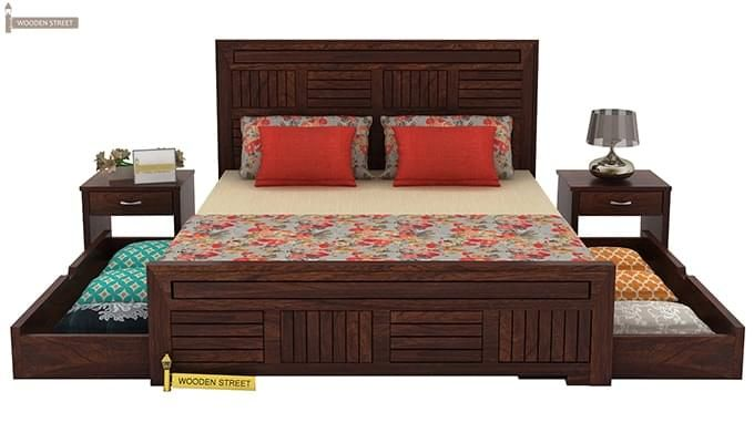 Libron Bed With Storage (King Size, Walnut Finish)-6