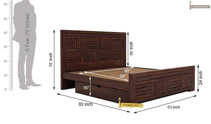 Libron Bed With Storage (Queen Size, Walnut Finish)-12