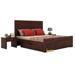Libron Bed With Storage (Queen Size, Walnut Finish)
