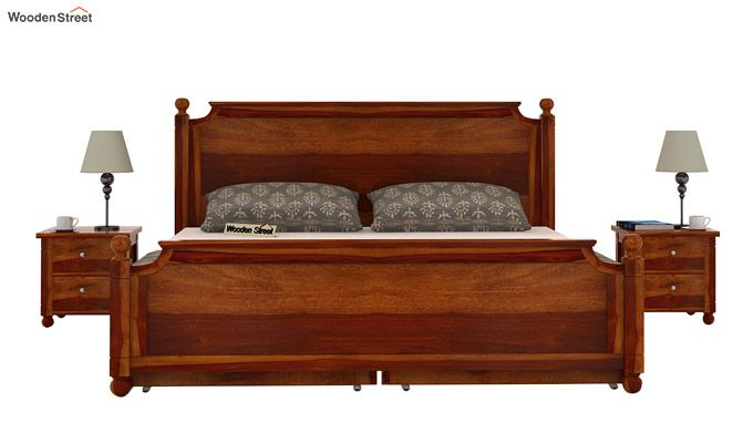 Aura Bed With Storage (King Size, Honey Finish)-3
