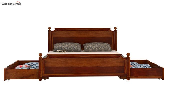 Aura Bed With Storage (King Size, Honey Finish)-6