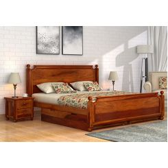 Aura Bed With Storage (King Size, Honey Finish)
