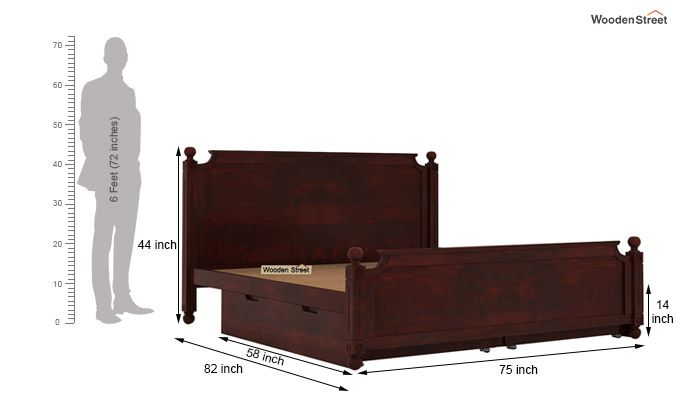 Aura Bed With Storage (King Size, Mahogany Finish)-7