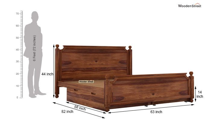 Aura Bed With Storage (Queen Size, Teak Finish)-7