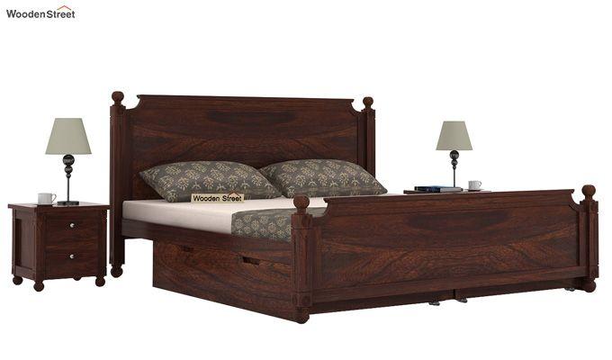 Aura Bed With Storage (King Size, Walnut Finish)-1