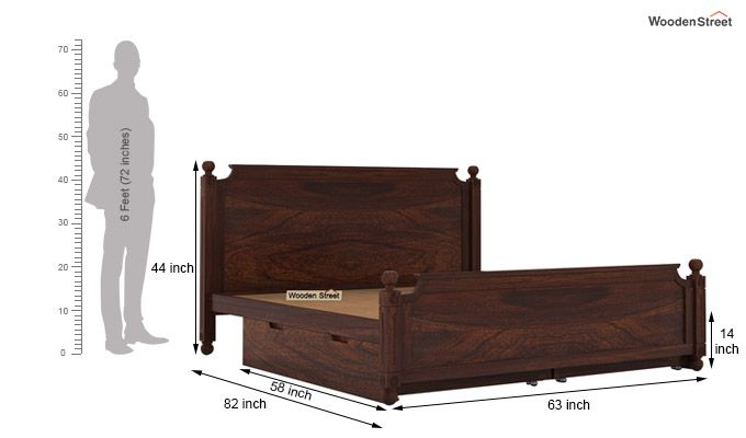 Aura Bed With Storage (Queen Size, Walnut Finish)-7