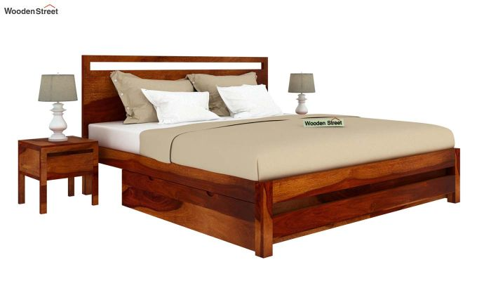 Bacon Bed With Storage (Queen Size, Honey Finish)-2