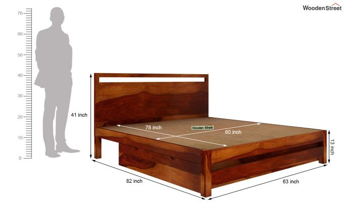 Bacon Bed With Storage (Queen Size, Honey Finish)-6