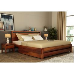 Bacon Bed With Storage (Queen Size, Honey Finish)