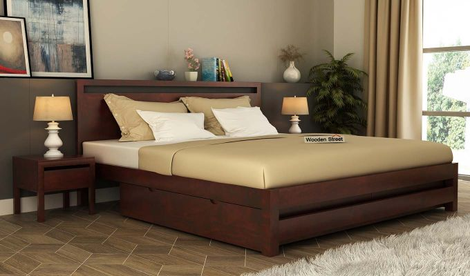 Bacon Bed With Storage (Queen Size, Mahogany Finish)-1