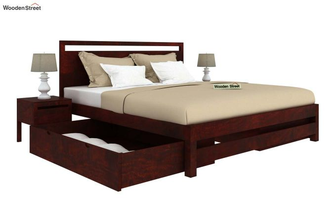 Bacon Bed With Storage (King Size, Mahogany Finish)-4
