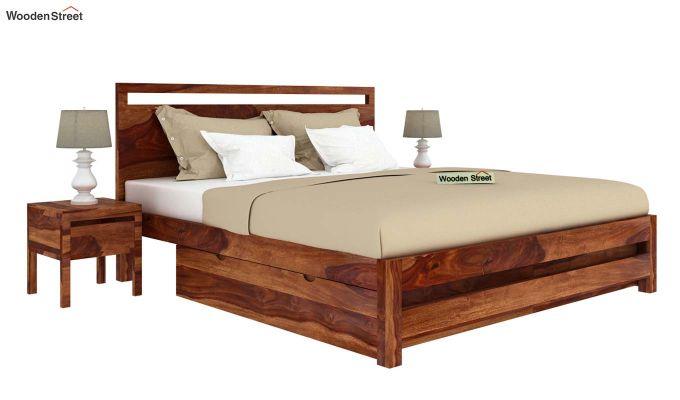 Bacon Bed With Storage (King Size, Teak Finish)-2