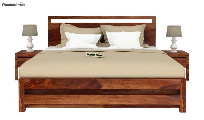 Bacon Bed With Storage (Queen Size, Teak Finish)-3