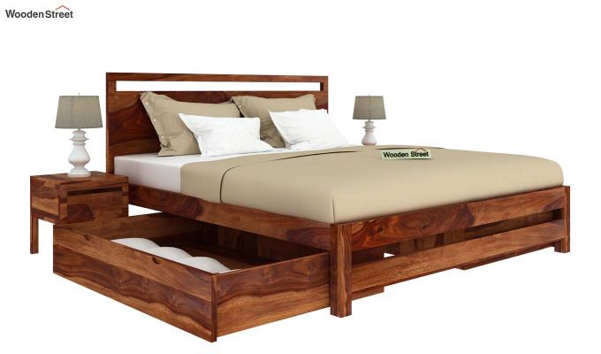 Bacon Bed With Storage (King Size, Teak Finish)-4