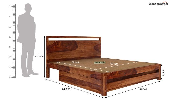 Bacon Bed With Storage (Queen Size, Teak Finish)-6