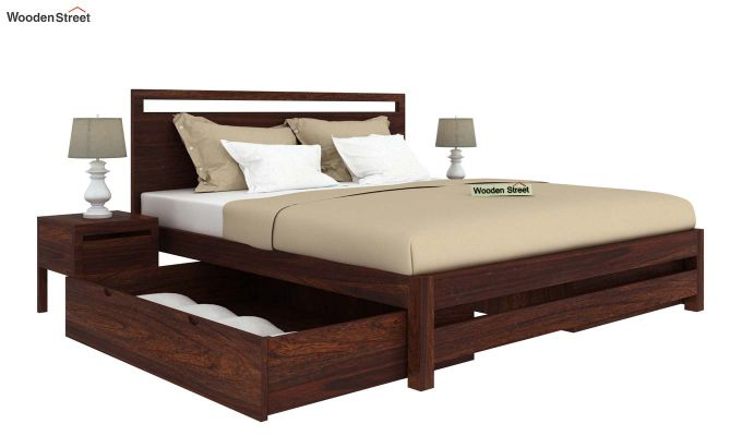 Bacon Bed With Storage (King Size, Walnut Finish)-4