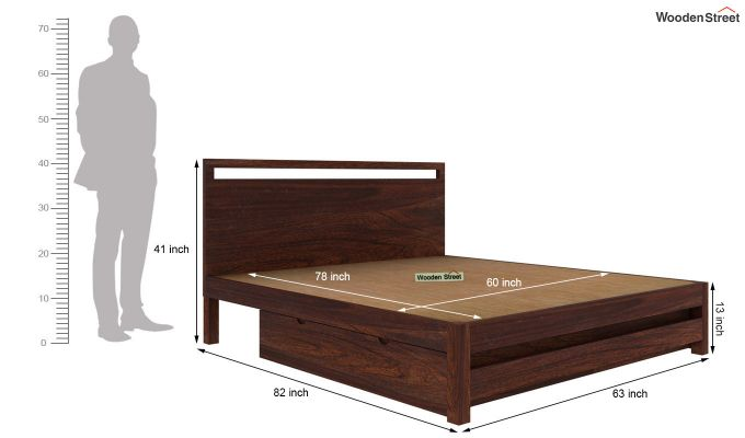 Bacon Bed With Storage (Queen Size, Walnut Finish)-6
