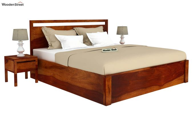 Bacon Hydraulic Bed With Storage (King Size, Honey Finish)-2