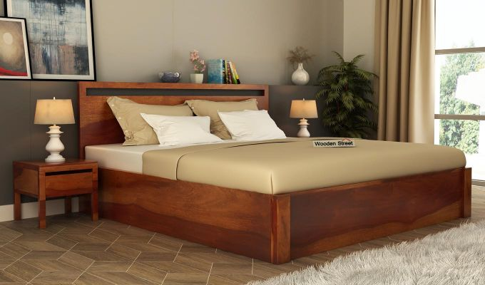 Bacon Hydraulic Bed With Storage (King Size, Honey Finish)-1