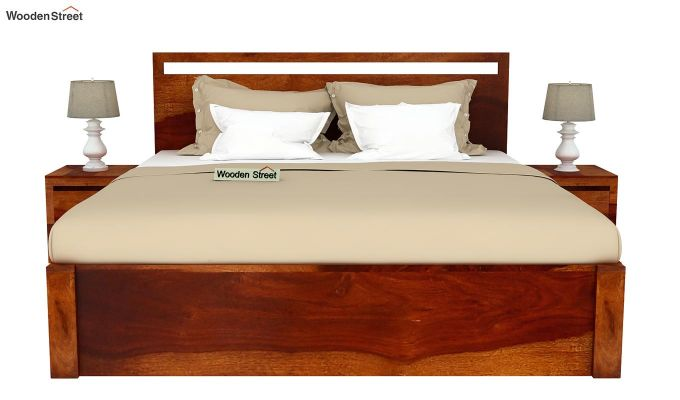 Bacon Hydraulic Bed With Storage (Queen Size, Honey Finish)-3