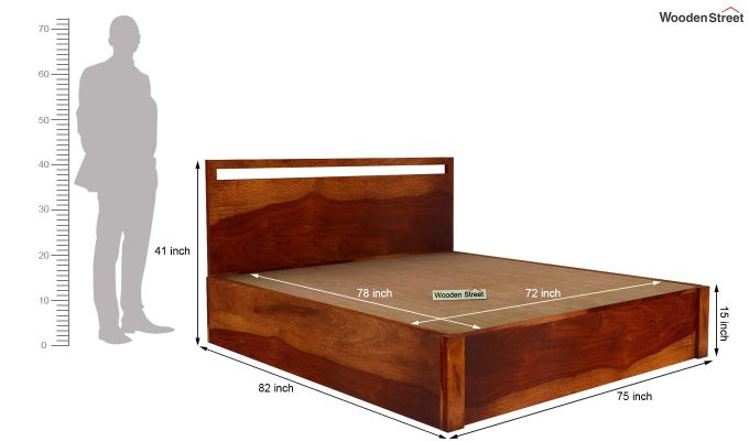 Bacon Hydraulic Bed With Storage (King Size, Honey Finish)-6