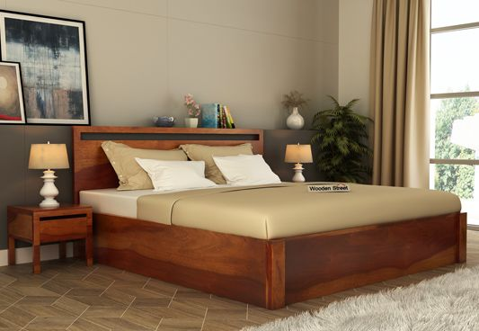 Bacon Hydraulic Bed With Storage (Queen Size, Honey Finish)