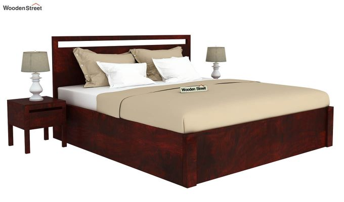 Bacon Hydraulic Bed With Storage (Queen Size, Mahogany Finish)-2