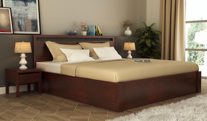 Bacon Hydraulic Bed With Storage (Queen Size, Mahogany Finish)-1