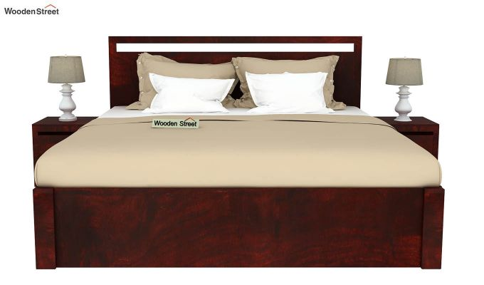 Bacon Hydraulic Bed With Storage (Queen Size, Mahogany Finish)-3