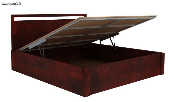 Bacon Hydraulic Bed With Storage (Queen Size, Mahogany Finish)-5