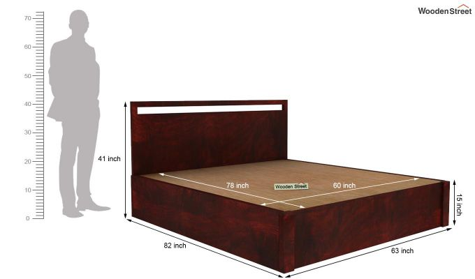 Bacon Hydraulic Bed With Storage (Queen Size, Mahogany Finish)-6