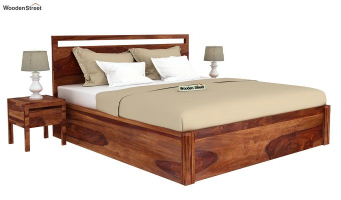 Bacon Hydraulic Bed With Storage (Queen Size, Teak Finish)-2
