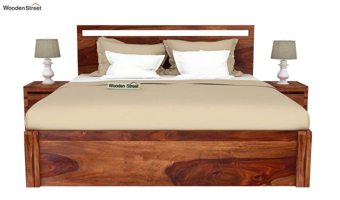 Bacon Hydraulic Bed With Storage (Queen Size, Teak Finish)-3