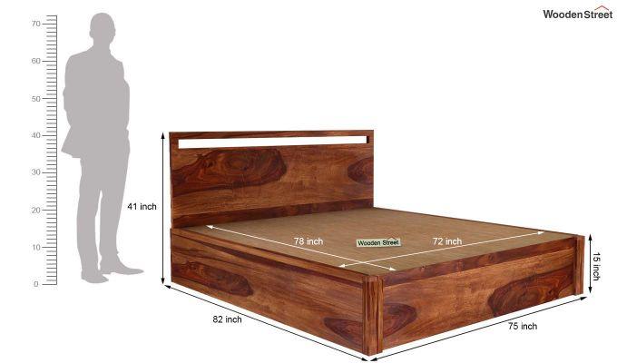 Bacon Hydraulic Bed With Storage (King Size, Teak Finish)-6