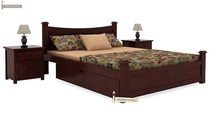 Christina Bed With Storage (Queen Size, Mahogany Finish)-1