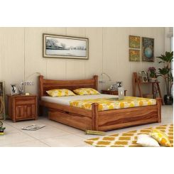 Christina Bed With Storage (Queen Size, Teak Finish)