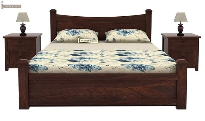 Christina Bed With Storage (Queen Size, Walnut Finish)-2