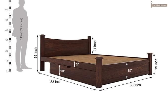 Christina Bed With Storage (Queen Size, Walnut Finish)-10