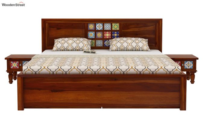 Boho Bed With Storage (King Size, Honey Finish)-3