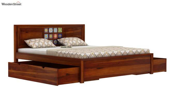 Boho Bed With Storage (Queen Size, Honey Finish)-5