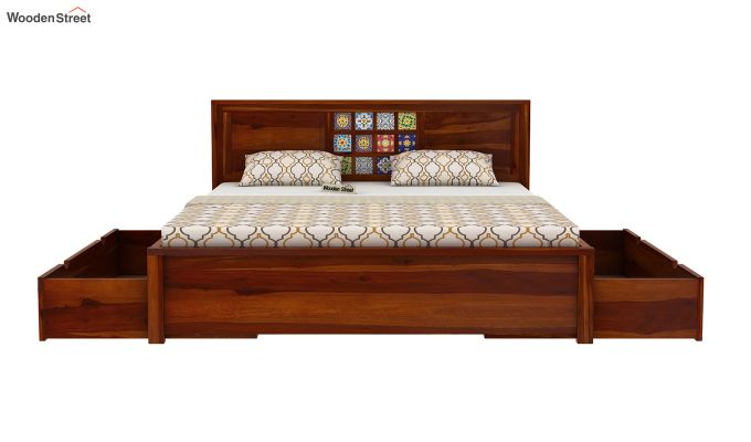 Boho Bed With Storage (Queen Size, Honey Finish)-6