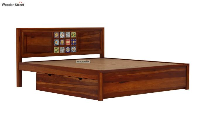 Boho Bed With Storage (Queen Size, Honey Finish)-7