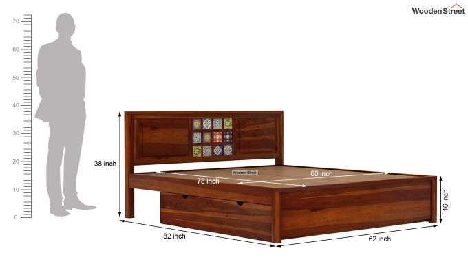 Boho Bed With Storage (Queen Size, Honey Finish)-8