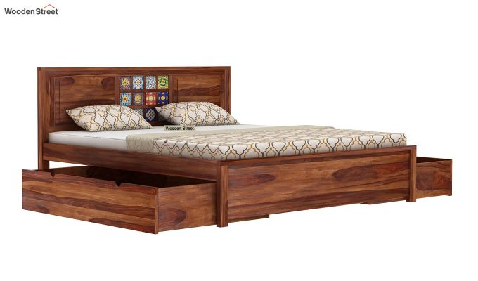 Boho Bed With Storage (King Size, Teak Finish)-5