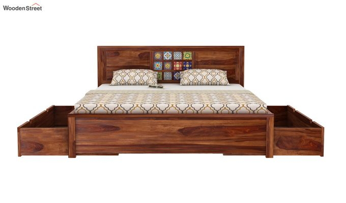 Boho Bed With Storage (King Size, Teak Finish)-6