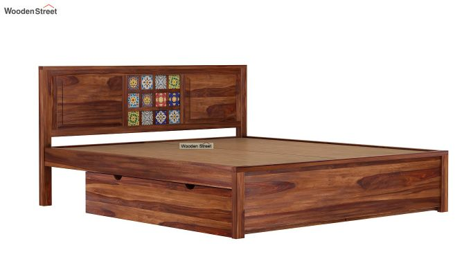 Boho Bed With Storage (King Size, Teak Finish)-7
