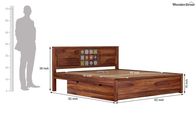 Boho Bed With Storage (Queen Size, Teak Finish)-8