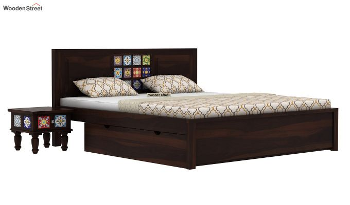 Boho Bed With Storage (Queen Size, Walnut Finish)-2