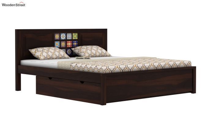 Boho Bed With Storage (Queen Size, Walnut Finish)-4