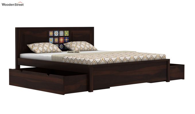Boho Bed With Storage (Queen Size, Walnut Finish)-5